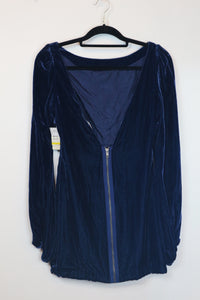 Elizabeth And James Blue Velvet Long Sleeved Low V-Back Dress