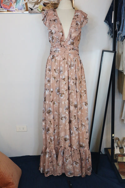 NA brown low neckline ruffled long dress