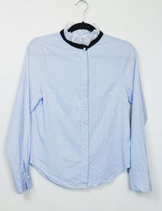 NA blue and white stripes longsleeve with ruffled collar blouse
