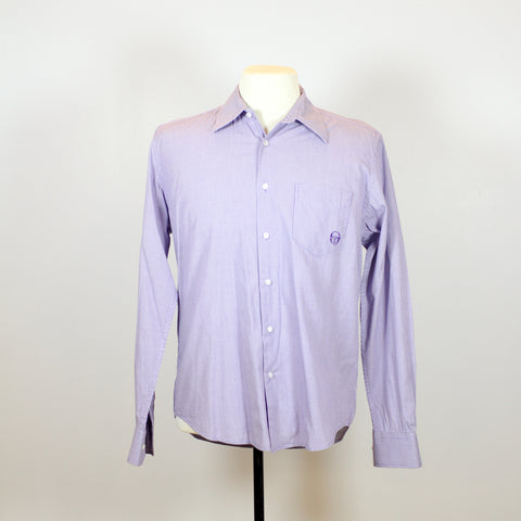 Sergio Tacchini Purple Long Sleeve Checkered Polo with Front Pocket