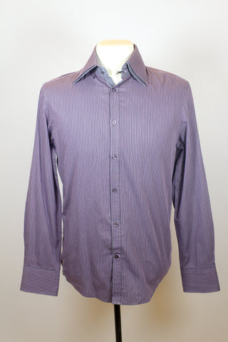 Celio Violet Long Sleeve Polo with Grey Vertical Line Patterns