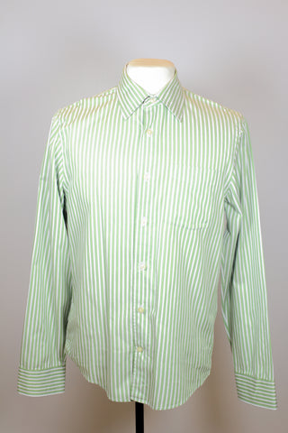 Club Monaco Green Long Sleeve Polo with White Vertical Line Patterns and Front Pocket