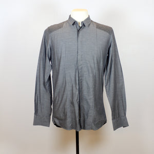 DKNY Grey Long Sleeve Polo with Black Vertical Line Patterns and Front Pocket