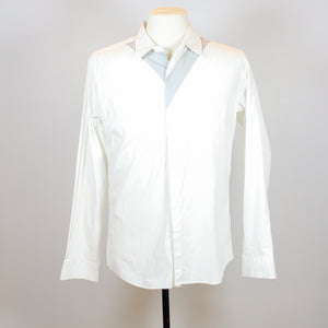 Kitterick White Long Sleeve Polo with Front Grey Details
