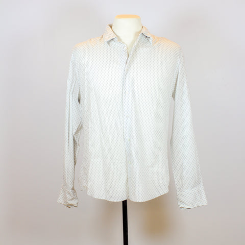 John Varvatos White Long Sleeve Polo with Grey Belt Patterns