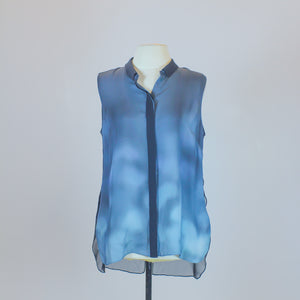 Elie Tahari Blue Sleeveless Blouse with Ombre Design