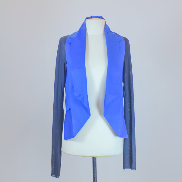 Nic. Blue Vest with Black Mesh Sleeves