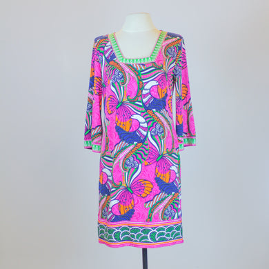 Laundry by Shelli Secal Pink Colorful Shift Dress with 3/4 Sleeves