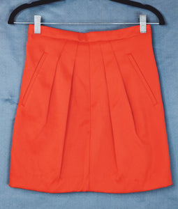 N/A Red Pleated Mini Skirt