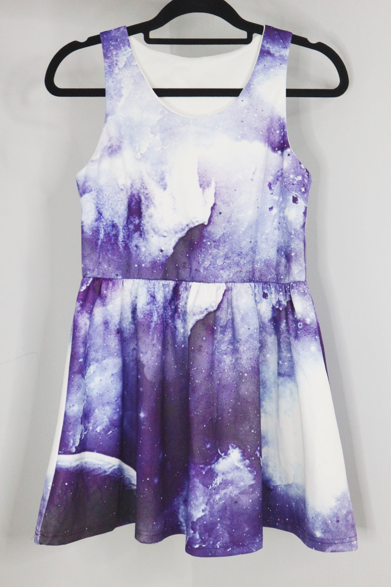 NA white and violet galaxy sleeveless dress