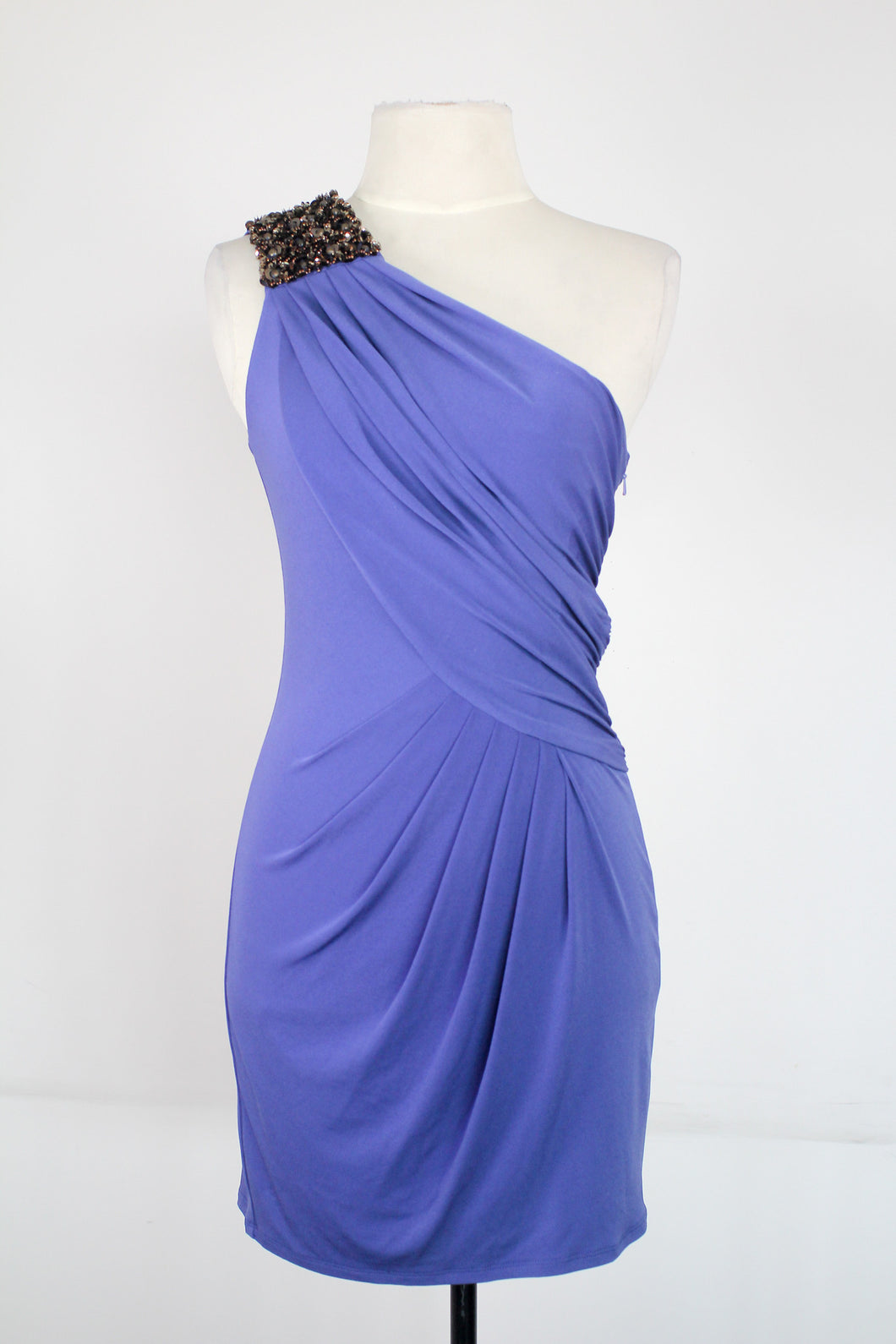 Zara Blue One Shoulder Dress with Beaded Accent