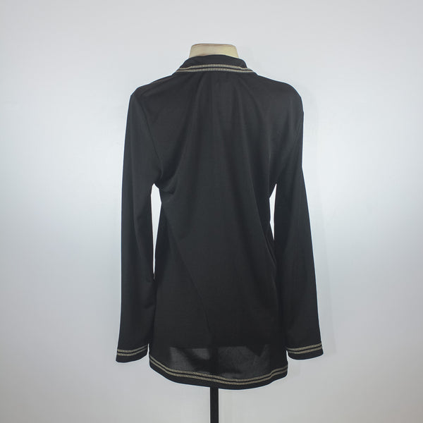 Morgan de Toi Black Blouse with white stitch detail