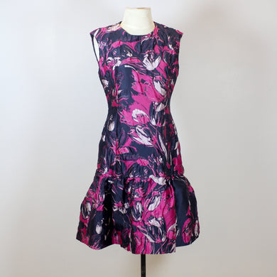 Carolina Herrera Black Dress with Pink Flower Designs and Poofy Bottom