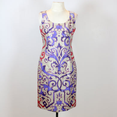 Versace Brown Midi Dress with Red and Blue Designs