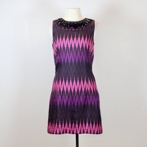 Milly Pink and Purple Midi Dress with Black Front and Back Beads