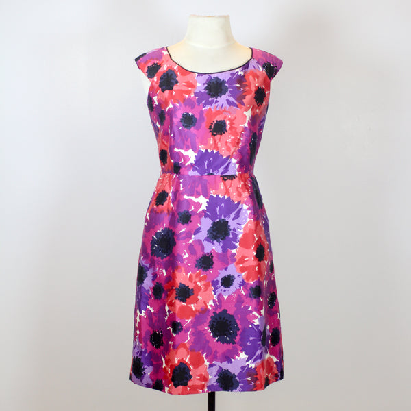Kate Spade Red and Purple Midi Dress with Floral Designs