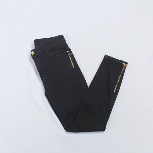 J Brand Black Skinny Leg with Bottom and Pocket Zippers