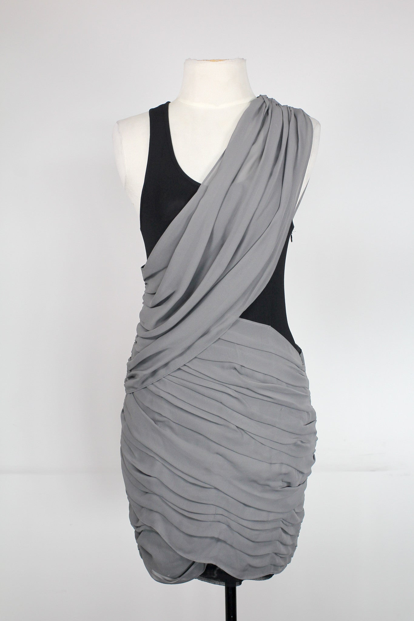 Acqua Ruched Grey Cocktail Dress