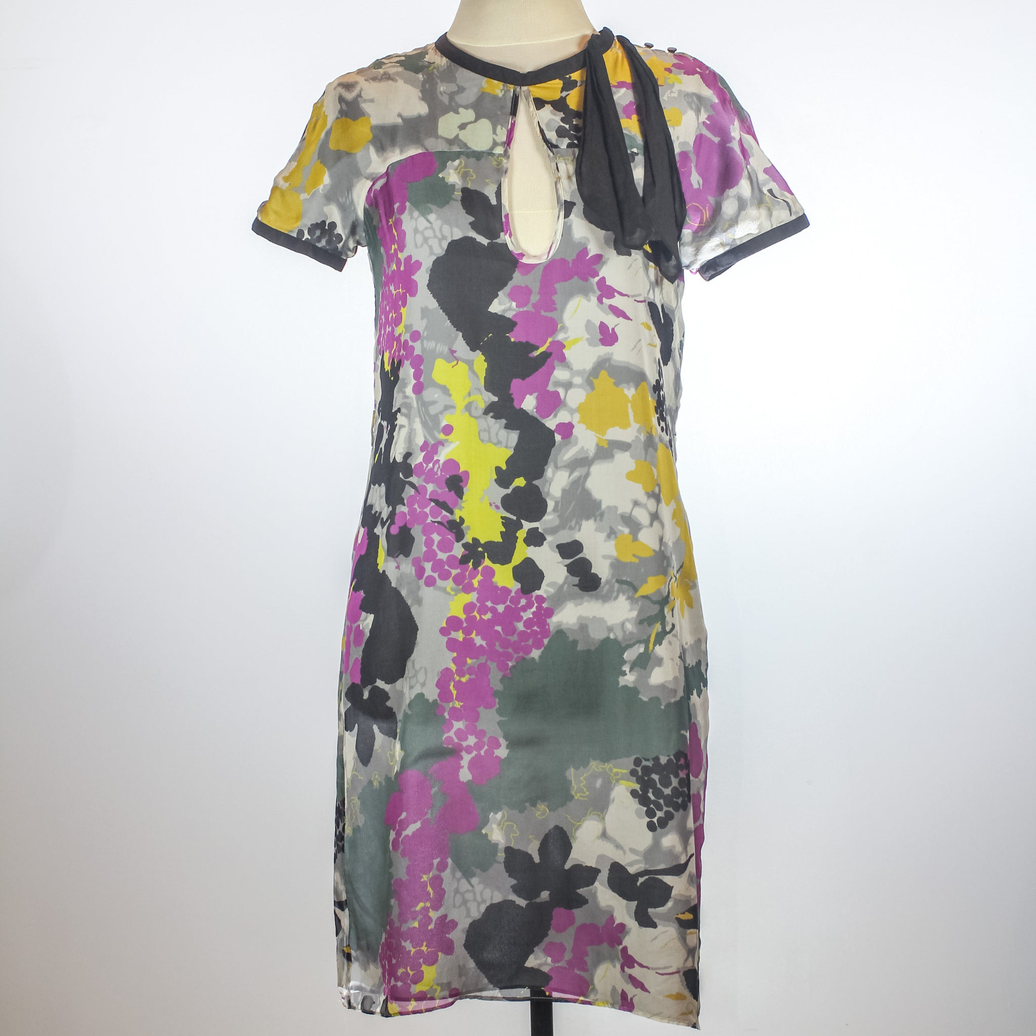 Catherine Malandrino Grey Floral Print Dress