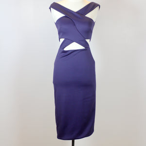 Charina Sarte Blue Halter Cocktail Dress with Side Cut-Outs