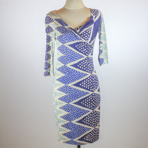 Diane von Furstenberg Silk Blue Pattern Dress