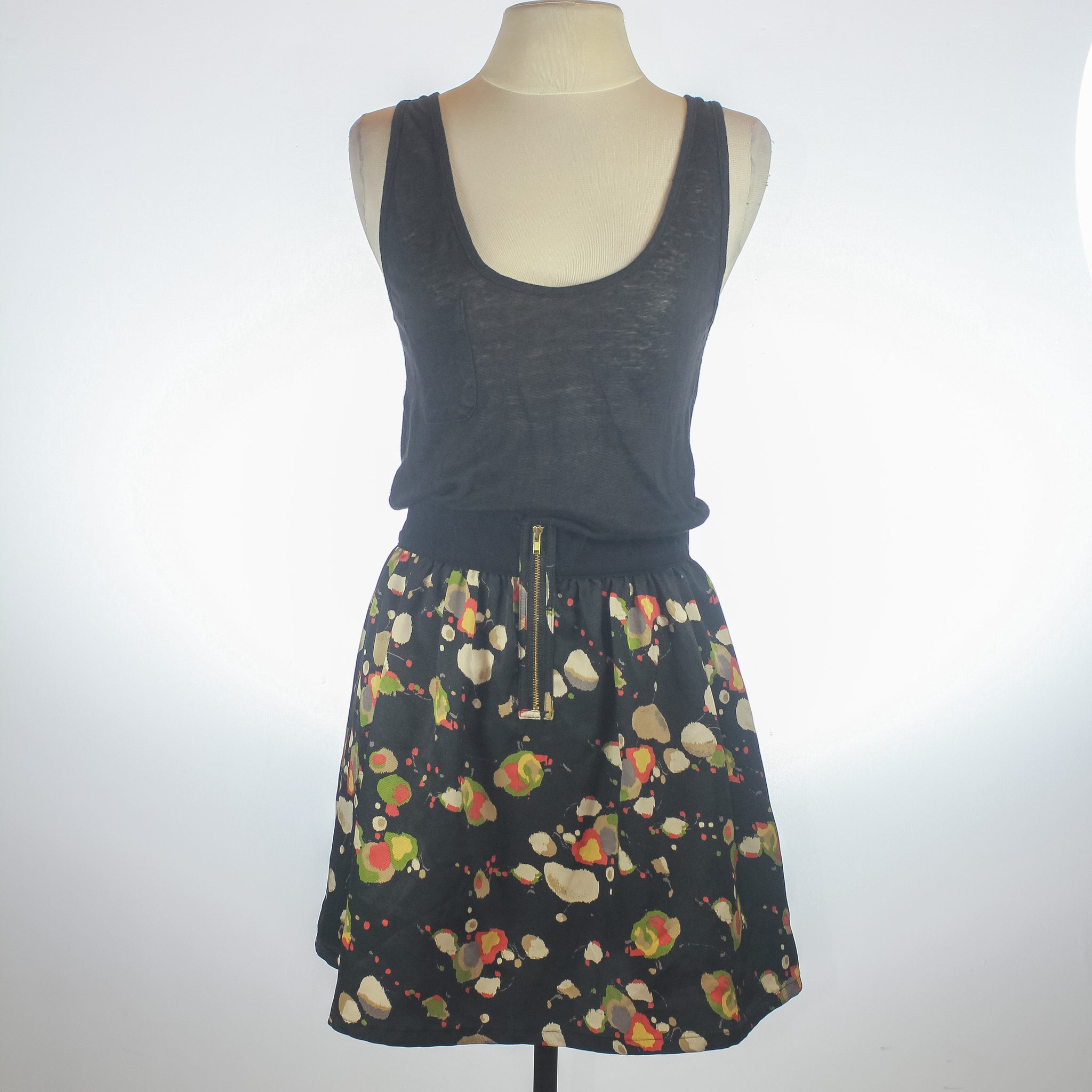 Patterson Black Tank with Printed Skirt Dress