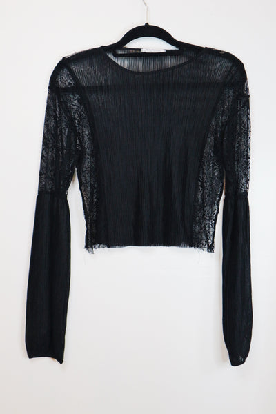 Zara black long bishop sleeves see tru blouse