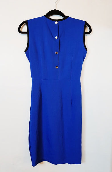 N/A Royal Blue Pleated Sheath Dress