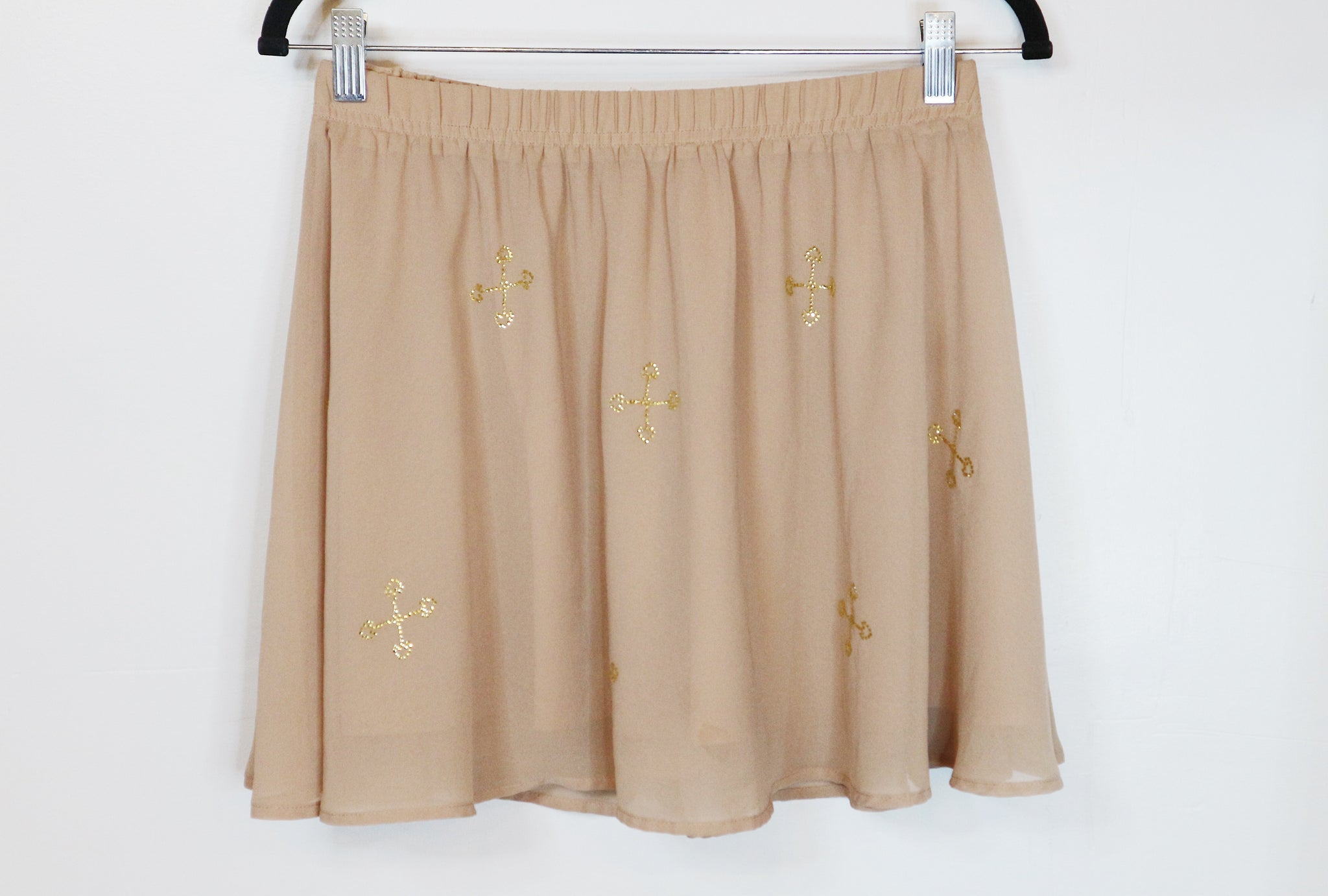 H&M Chiffon Skirt with Gold Rhinestones