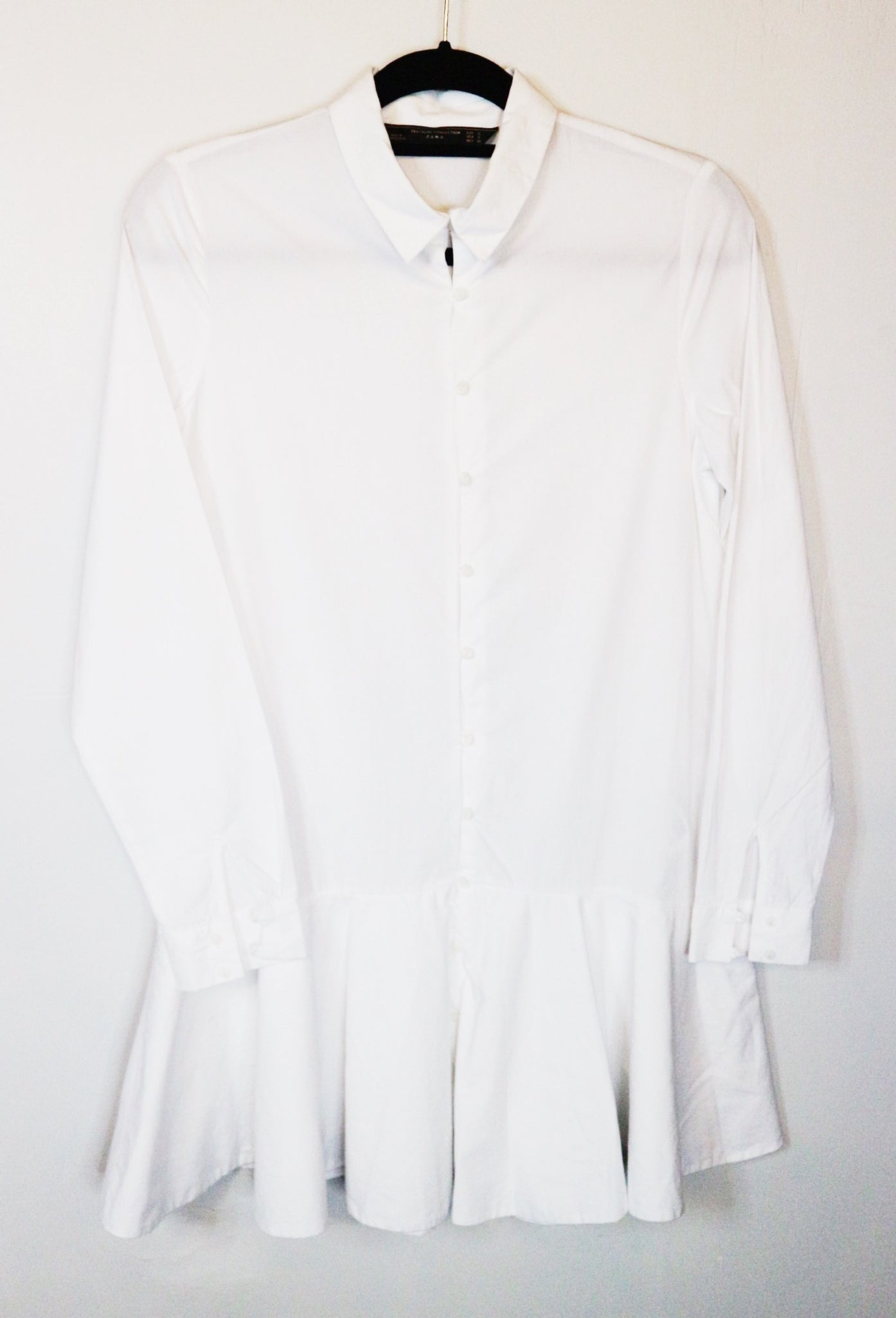 Zara white button down shirt dress