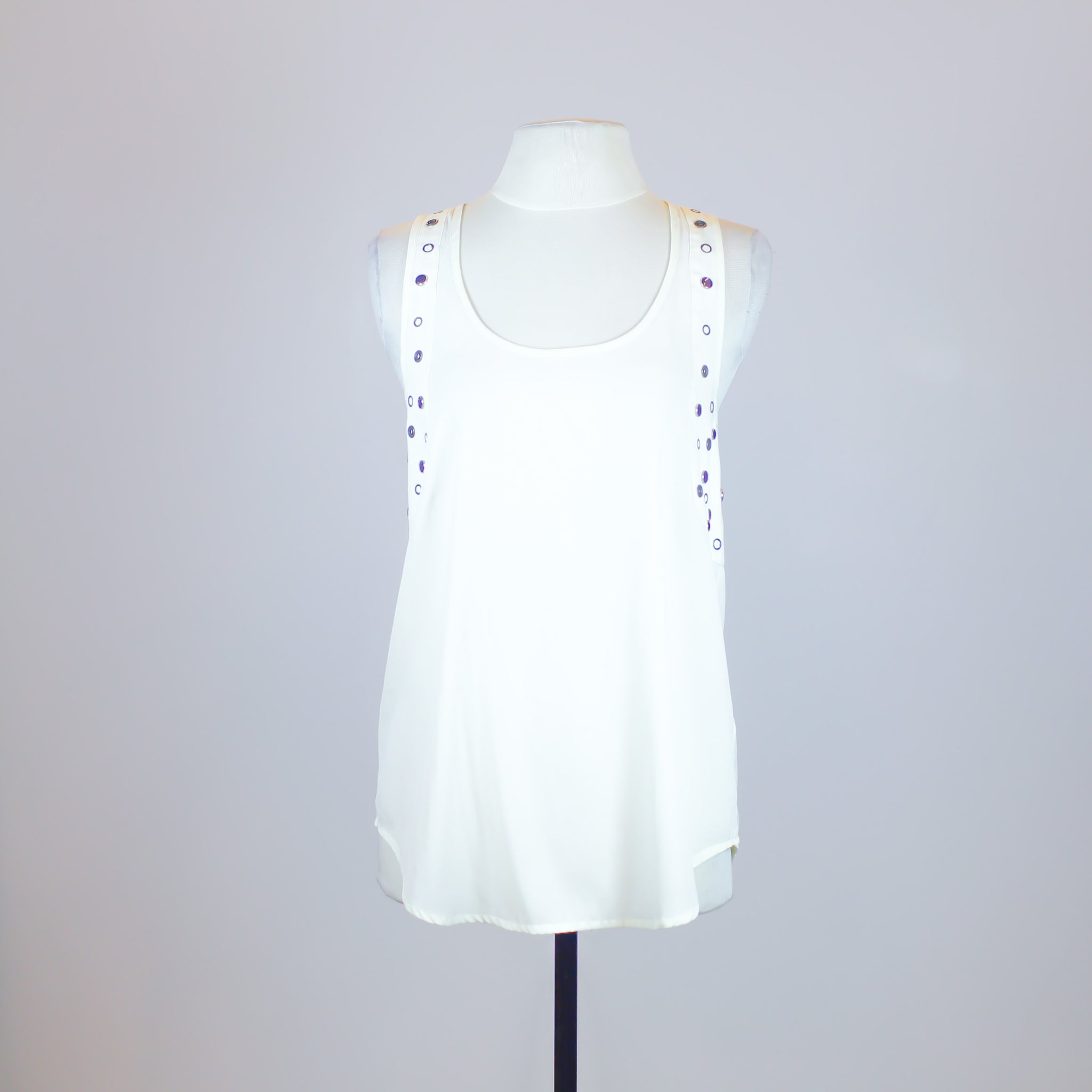 Topshop Cream Sleeveless Top with Button Designs