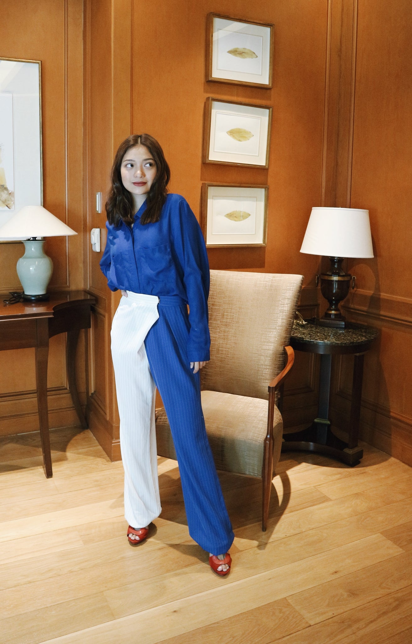 Jane Uda white and blue with black stripes trousers