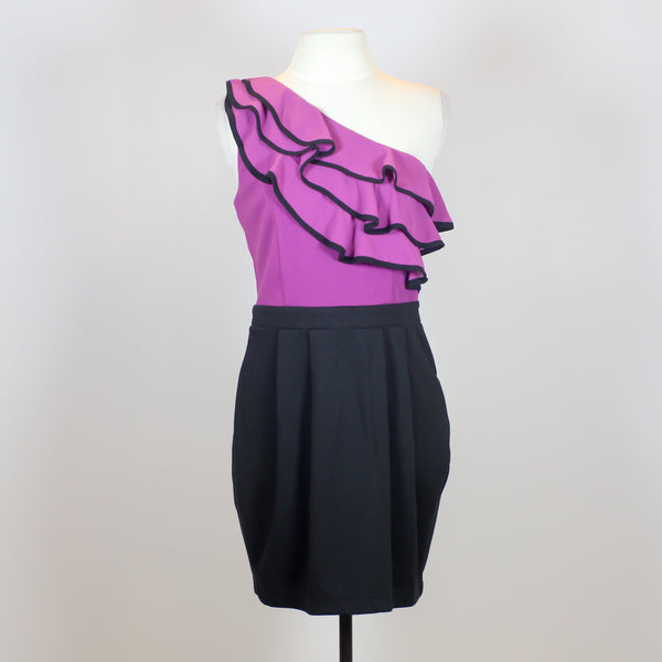 Lipsy Purple One Shoulder Dress with Black Skirt and Ruffles