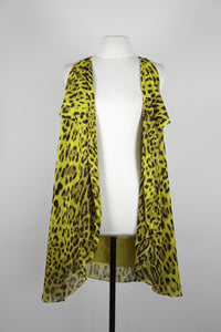 Charina Sarte Yellow Vest With Cheetah Print