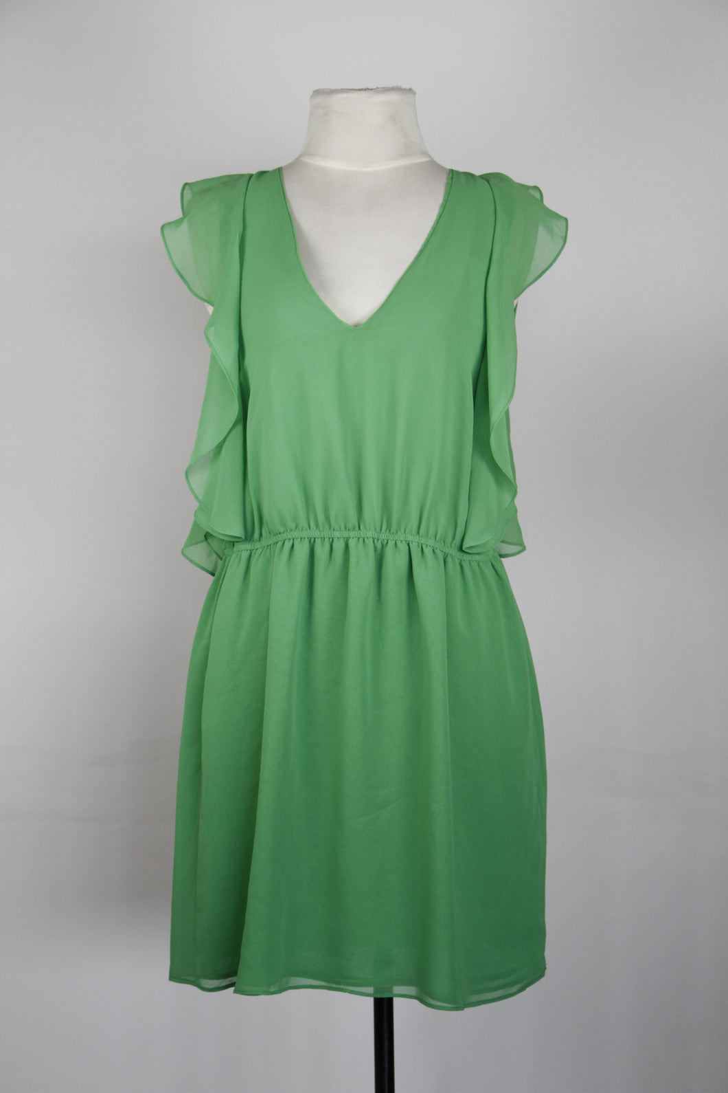 Zara Green V-Neck Dress with Ruffle Sleeves