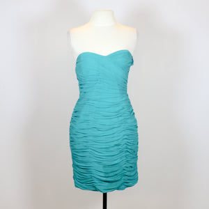 Lipsy Teal Scrunched Tube Dress with Sweetheart Neckline