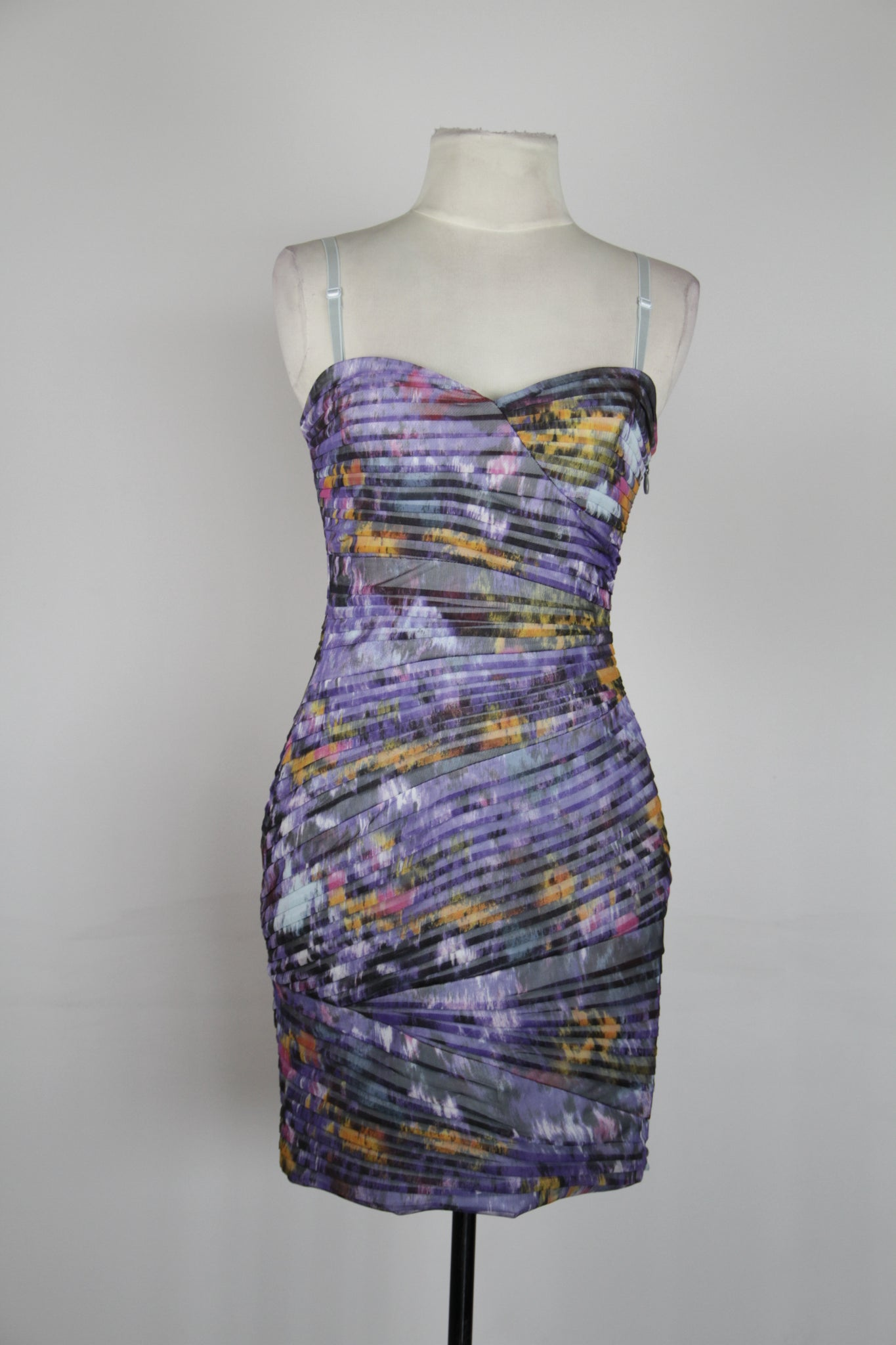 BCBG Purple Tube Dress with Sweetheart Neckline and Detachable Straps
