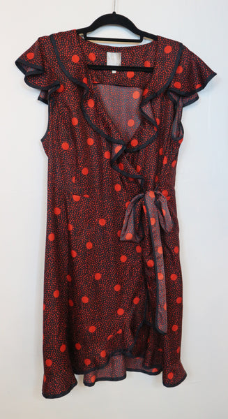 Karen Walker Red Polka Ruffle Wrap dress