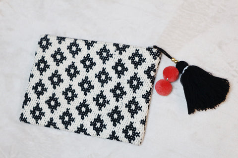 Mango white and black crochet clutch bag