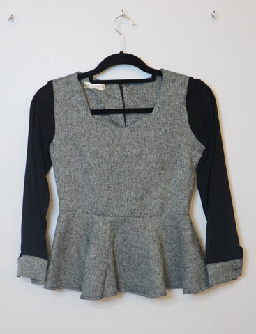Tang Xin grey sheer with black sleeves blouse