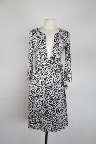 DVF Black Wrap Dress with White Designs