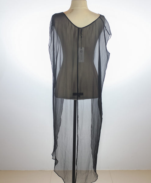 Charina Sarte Black Sheer Blouse with Long Back