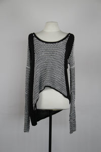 Helmut Lang Black Knitted Sweater with White Linings