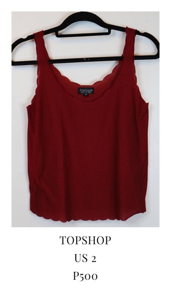 Topshop Red Sleeveless Blouse