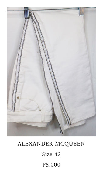 Alexander Mcqueen White Pants with Zipper design