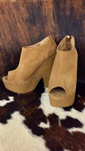Ecote Brown Suede Wedges
