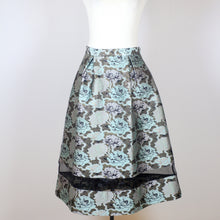 Miss Selfridge Green Midi Skirt with Bottom See Through Details and Flower Designs