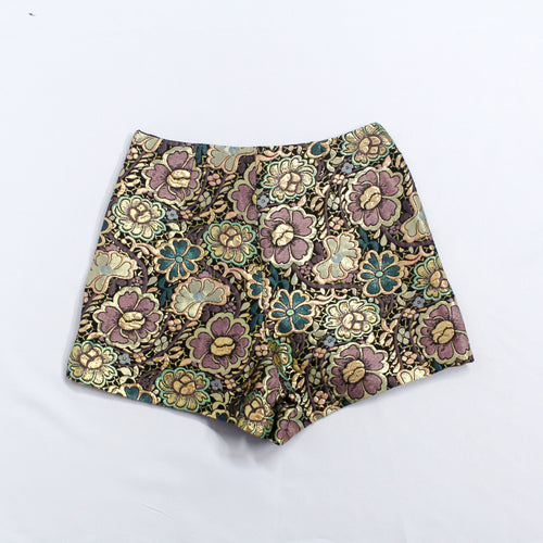 Miss Selfriedge Gold Shorts with Flower Details