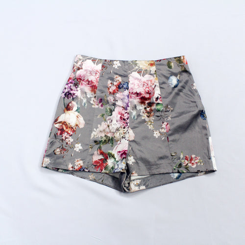 River Island Grey High Waist Shorts with Flower Designs