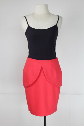 H&M Red Pencil Skirt with Hip Overlay